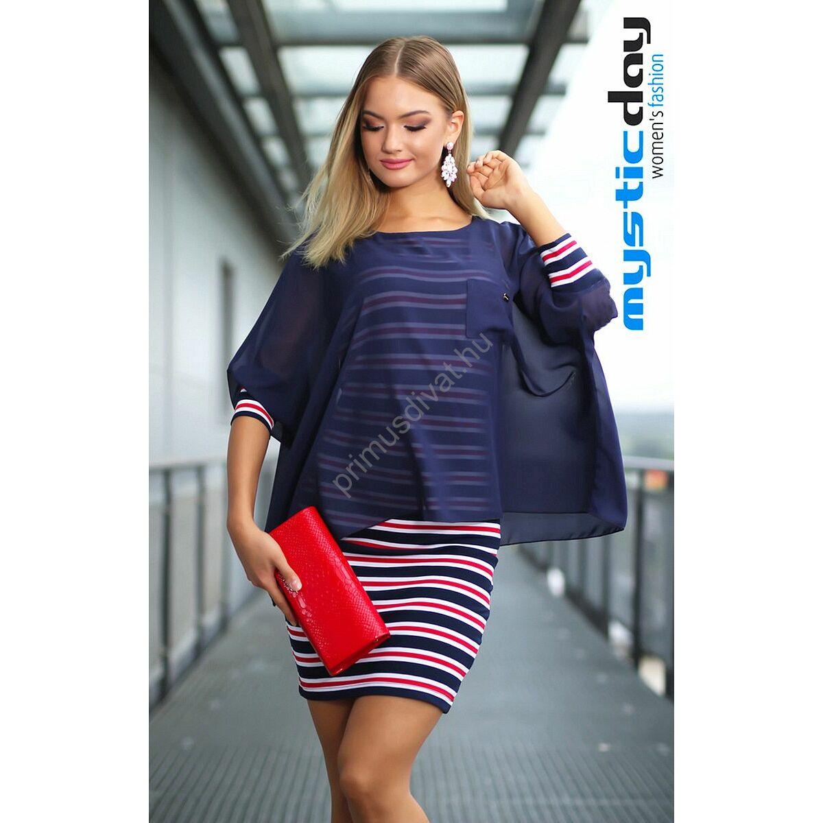 Mystic Day piros-fehér-kék tengerészcsíkos ujjatlan szűk rugalmas miniruha 9829f2cf89