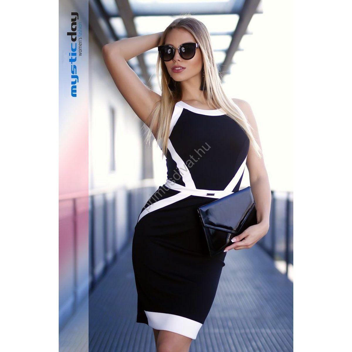 Kép 1 2 - Mystic Day karcsúsító hatású fehér betétes fekete ujjatlan  alkalmi ruha 7f554d9cb9