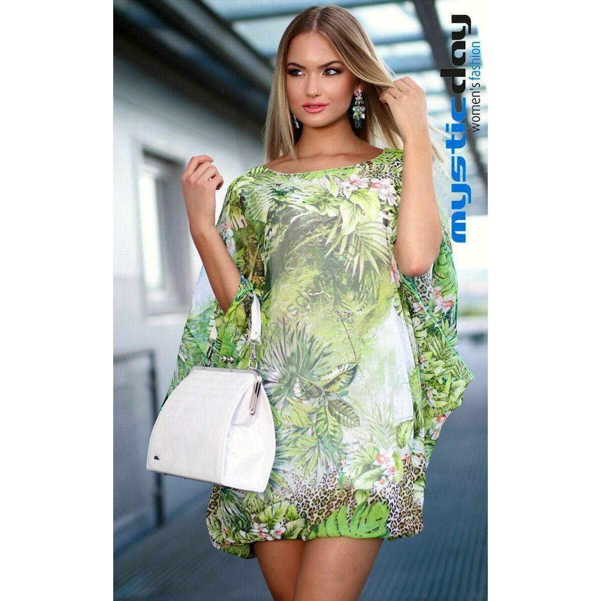 Kép 1 1 - Mystic Day bő szabású zöldes dús virágmintás muszlin ruha 1df029408a