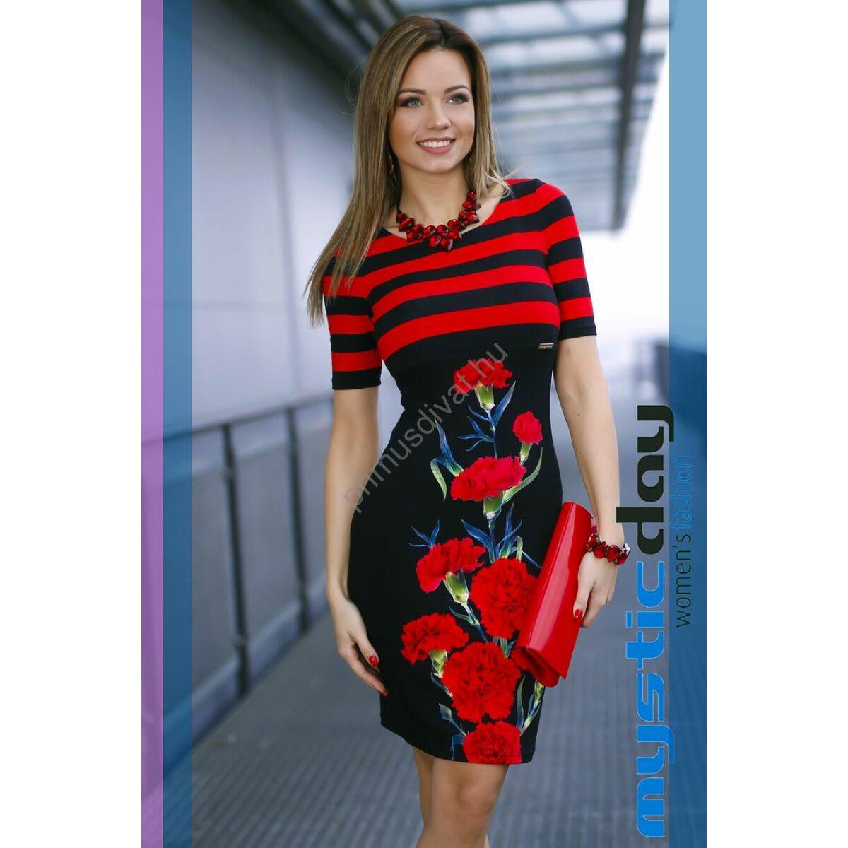 Mystic Day piros csíkos és szegfűmintás rövid ujjú fekete alkalmi ruha d7aeebe66e