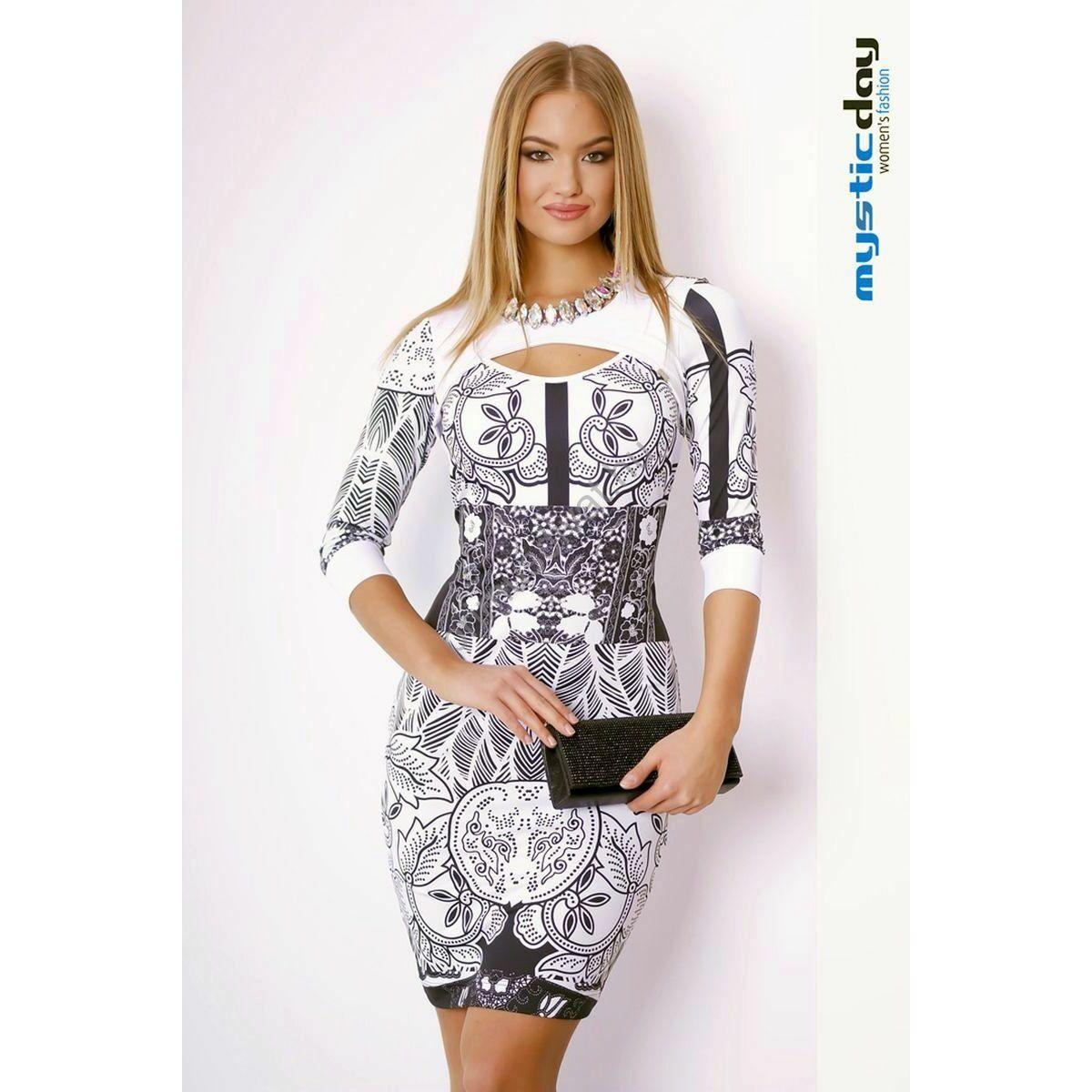 Mystic Day kivágott dekoltázsú fekete-fehér mintás alkalmi ruha 72fba38798