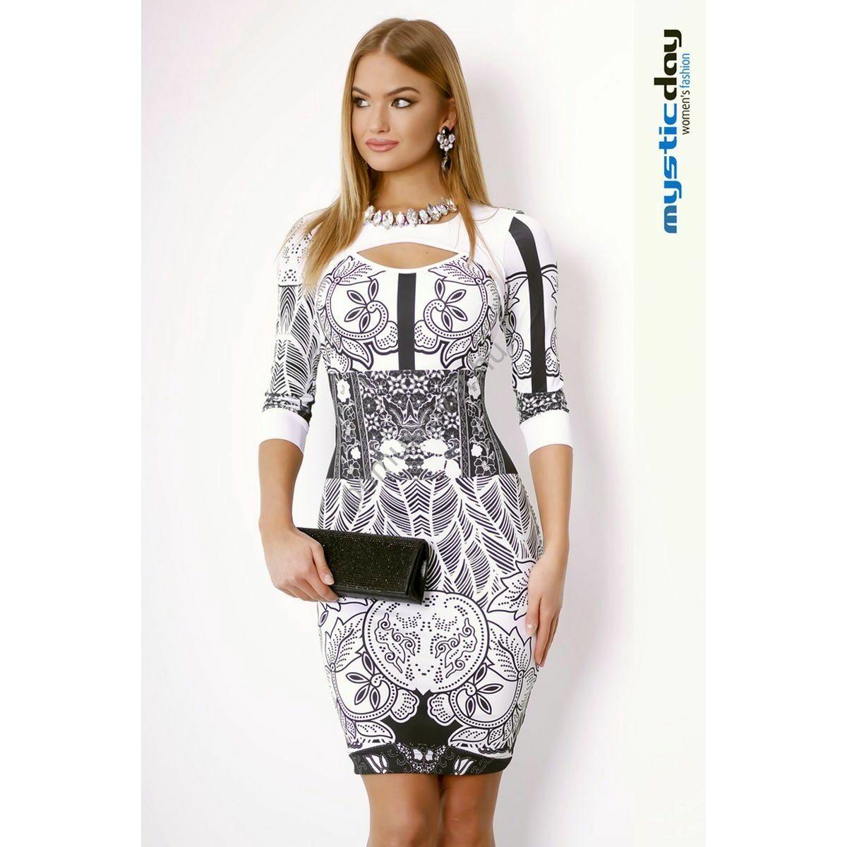 Mystic Day kivágott dekoltázsú fekete-fehér mintás alkalmi ruha 311764c3bd