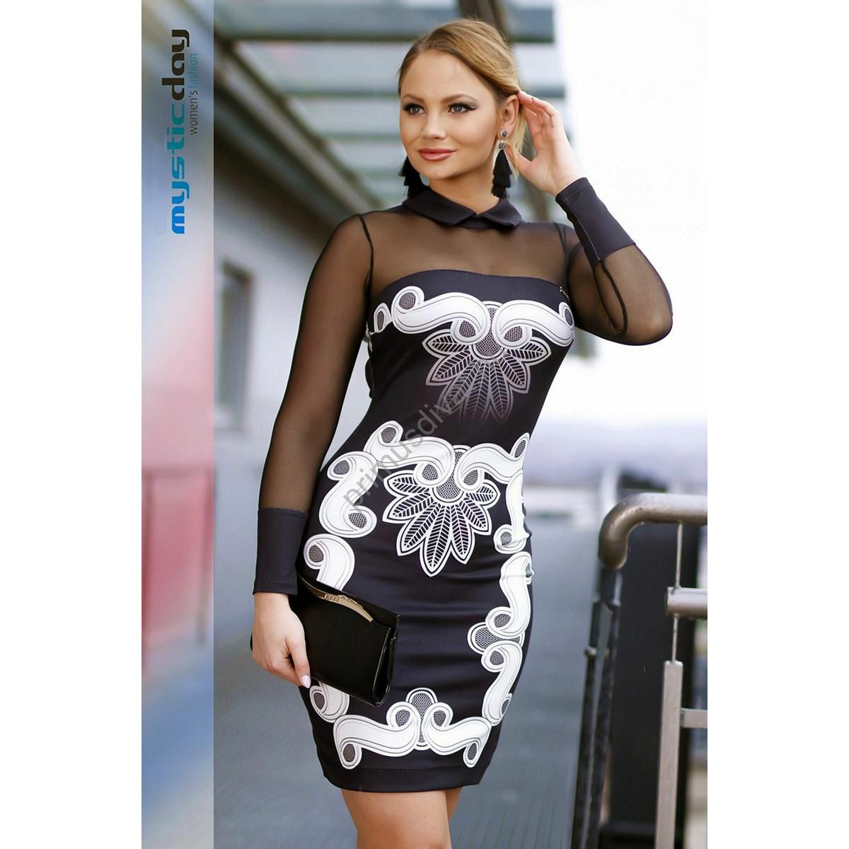 Mystic Day inggalléros muszlin ujjú fehér mintás fekete alkalmi ruha 97f8e1ddf1