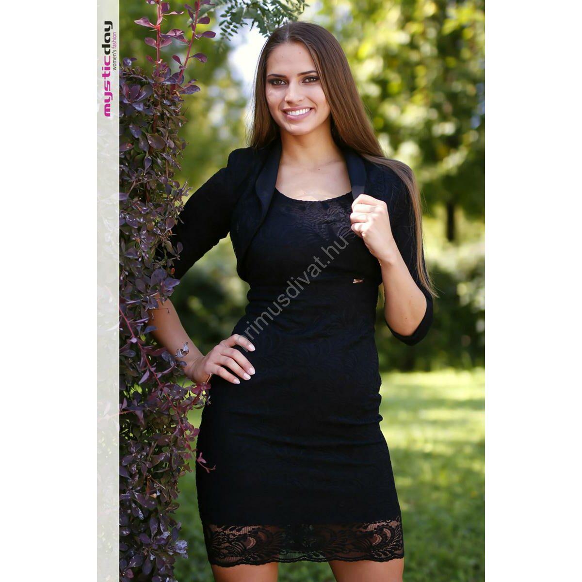 db54754c0b Kép 1/2 - Mystic Day alábélelt, rugalmas fekete csipke alkalmi komplé,  ujjatlan ruha boleróval