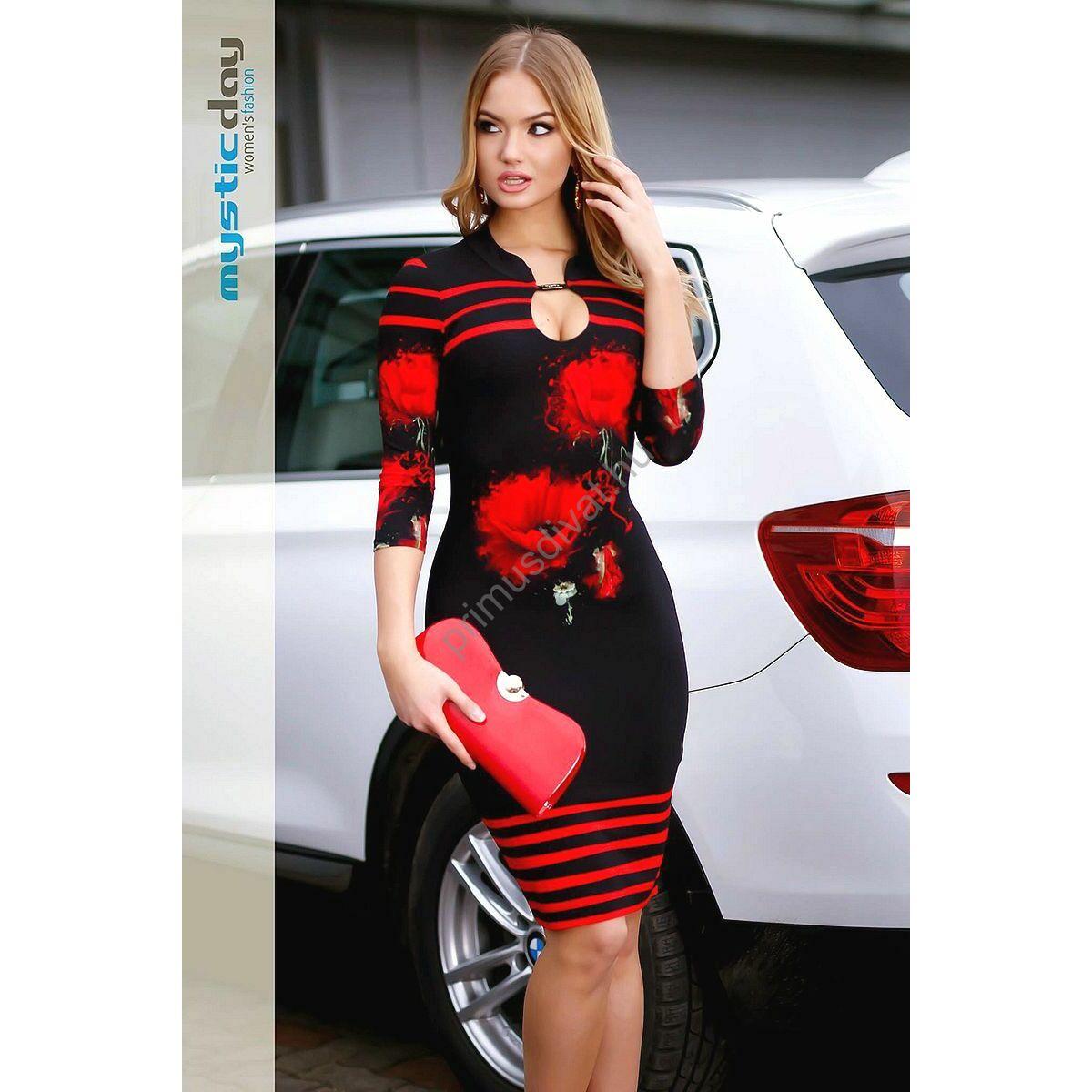 Mystic Day állógalléros piros virágos fekete rugalmas viszkóz ruha fb6c931141