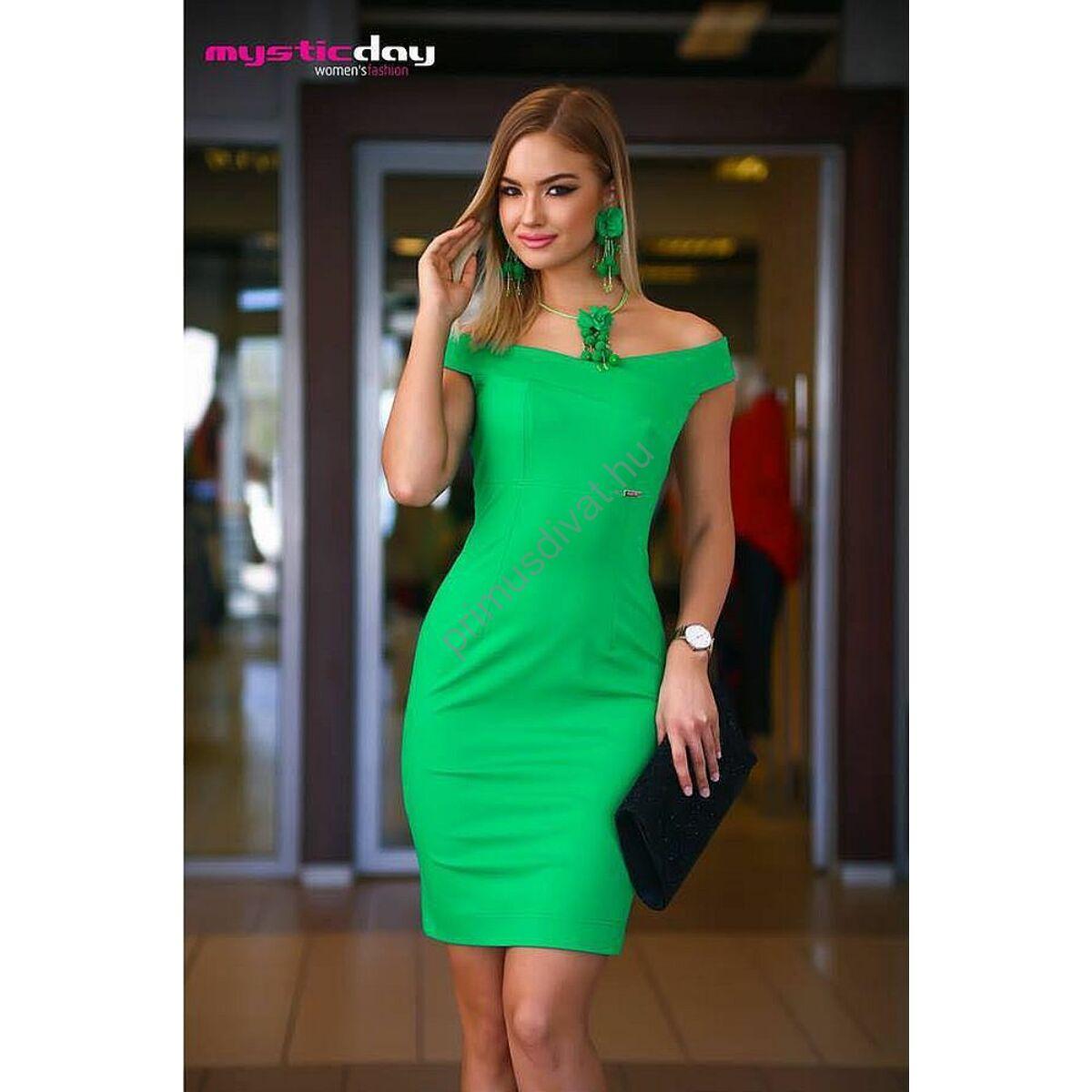 53cc14884c Kép 1/1 - Mystic Day vállra szabott borsózöld ujjatlan ruha