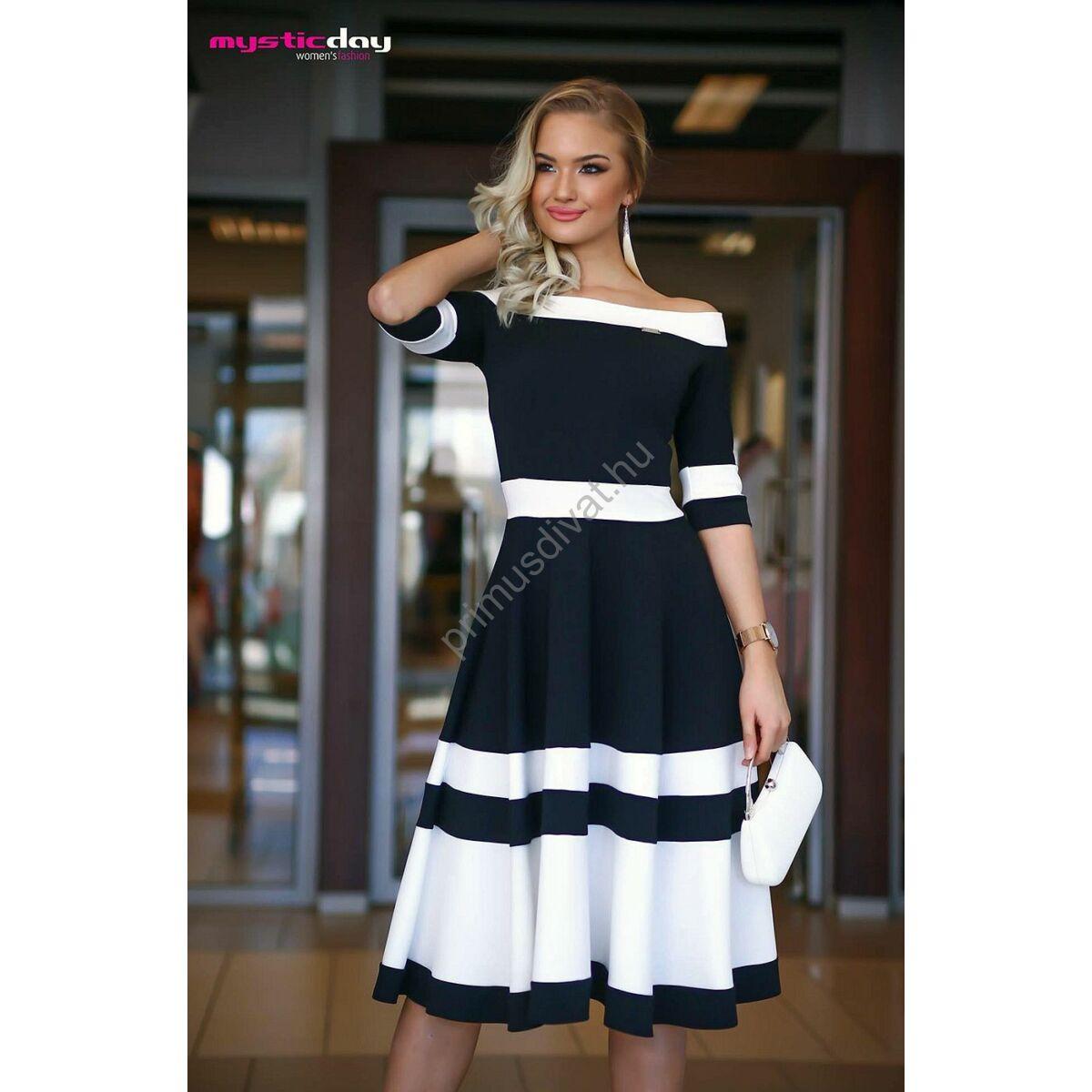 Mystic Day vállra szabott loknis fekete-fehér alkalmi midi ruha 17ee99742d