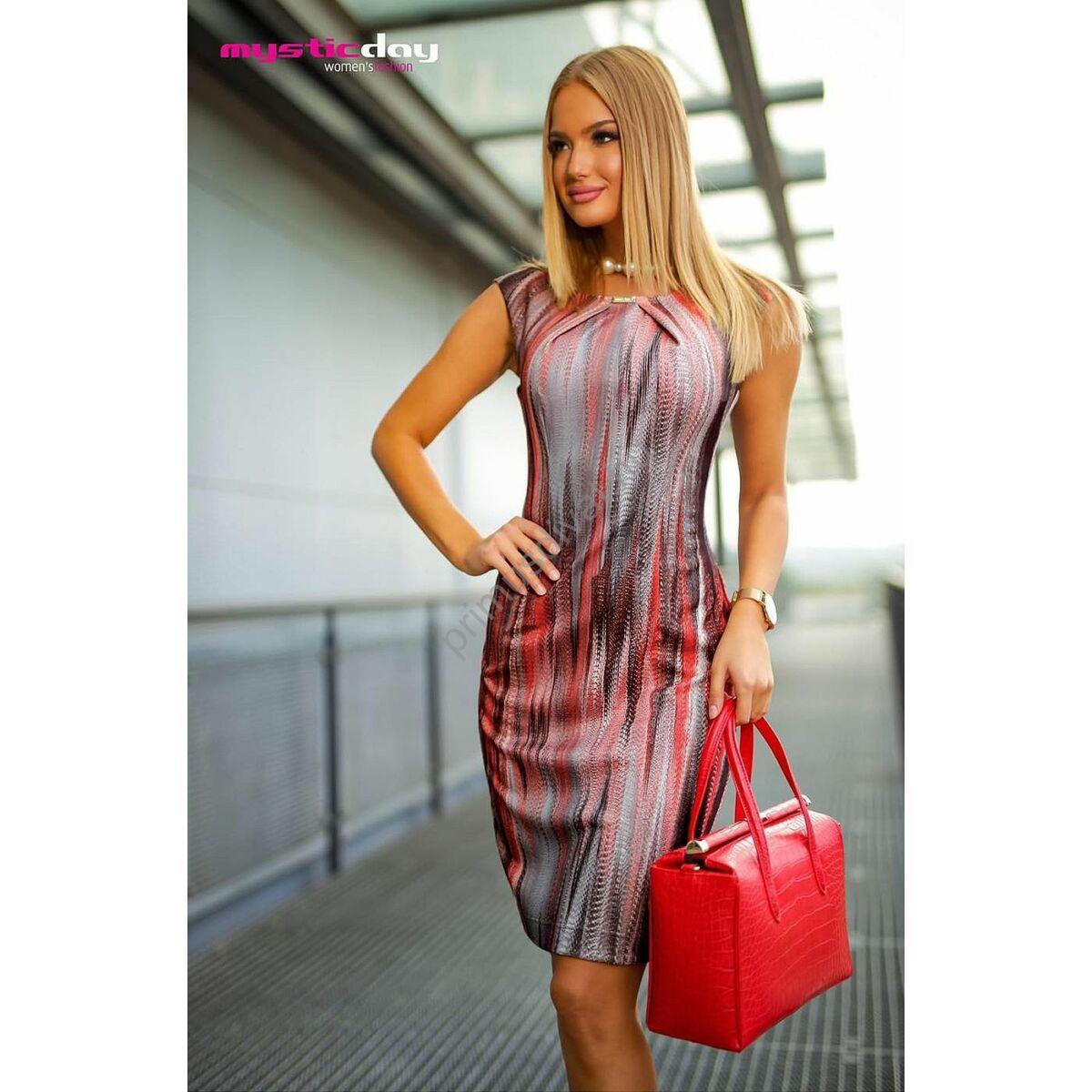Mystic Day rakott mellrészű, rugalmas anyagú színes mintás ujjatlan alkalmi Elif ruha