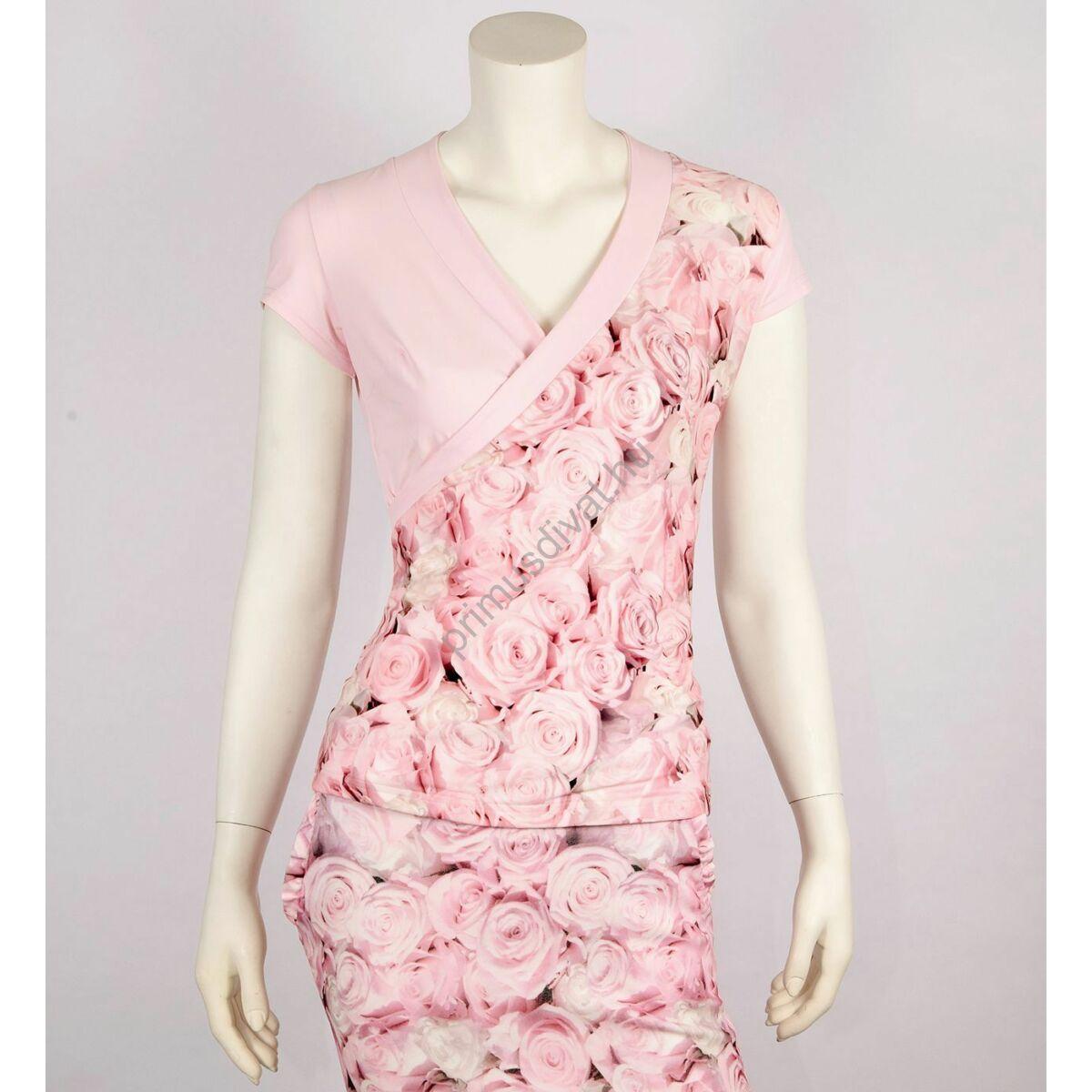 Mystic Day átlapolt rózsaszín rózsamintás rövid ujjú Rebeka felső