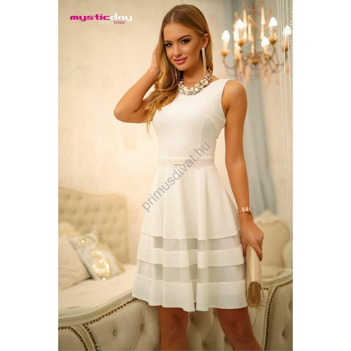 Mystic Day necc betétes loknis aljú, szatén alsószoknyás ujjatlan fehér alkalmi ruha