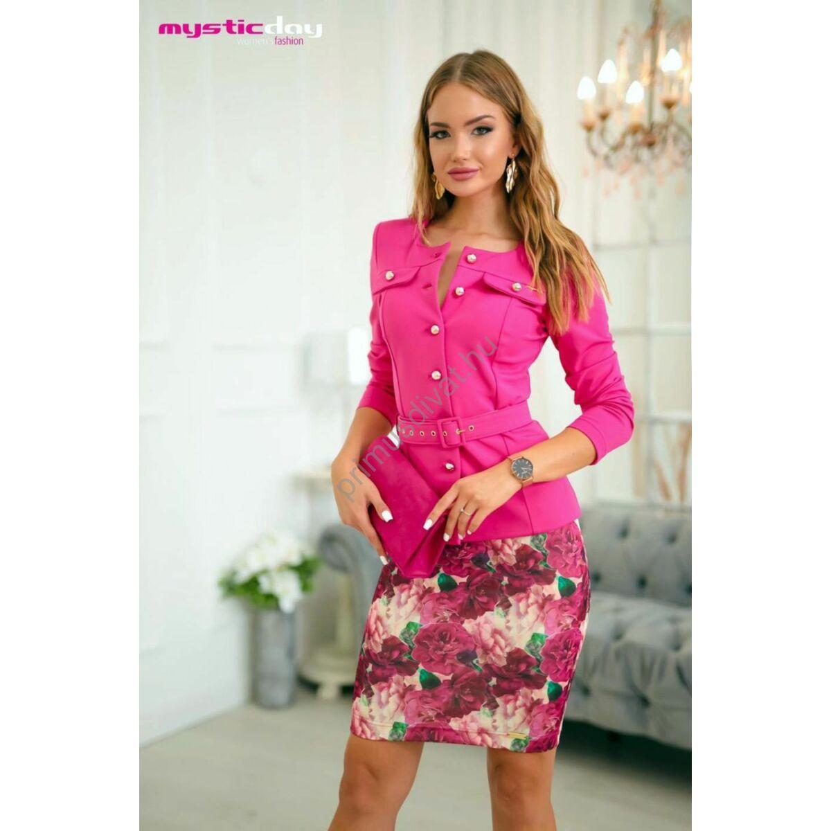 Mystic Day hosszú ujjú környakas pink Linett blézer, zakó, arany színű gombokkal, anyagából készült övvel