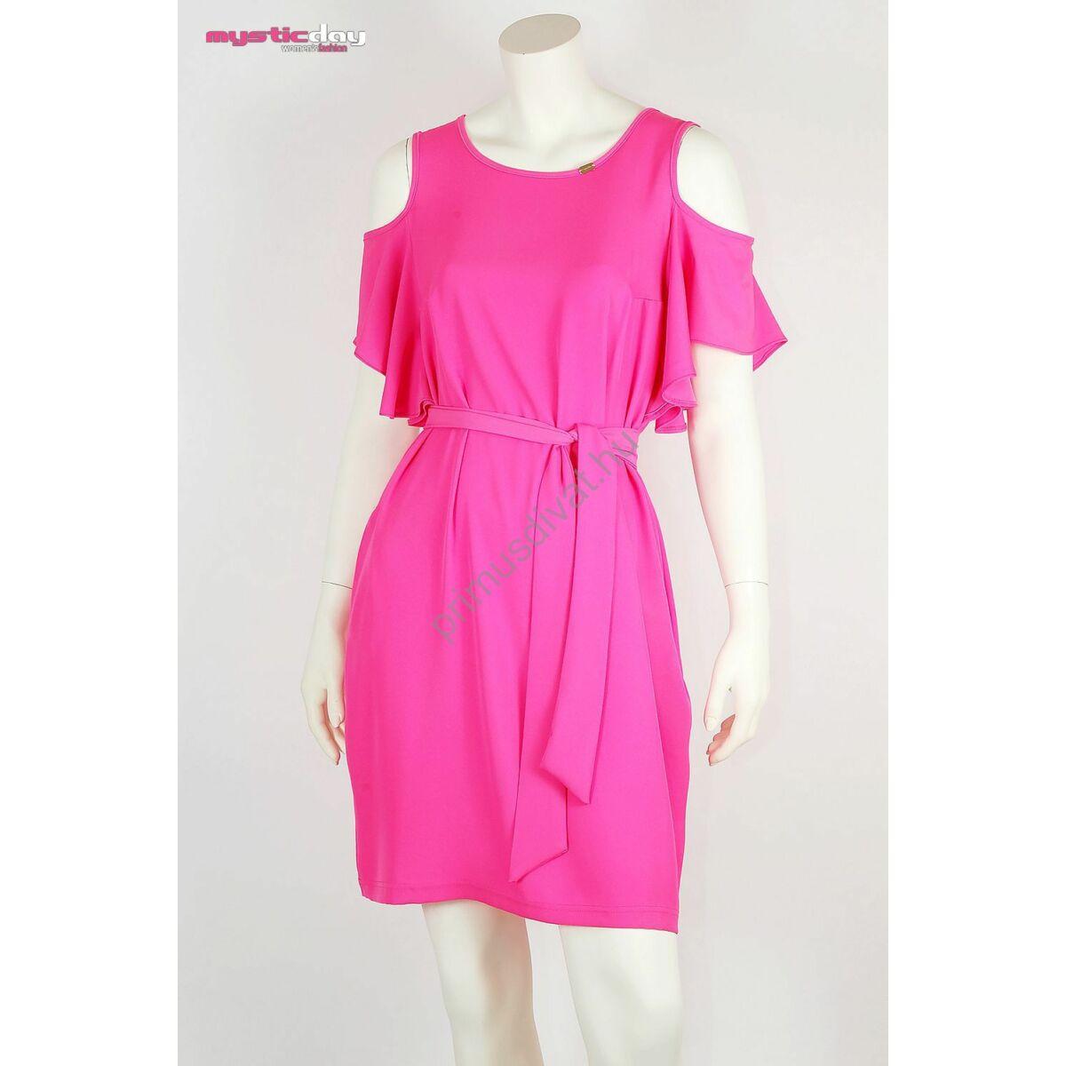 Mystic Day nyitott vállú rövid ujjú lenge, zsebes pink ruha