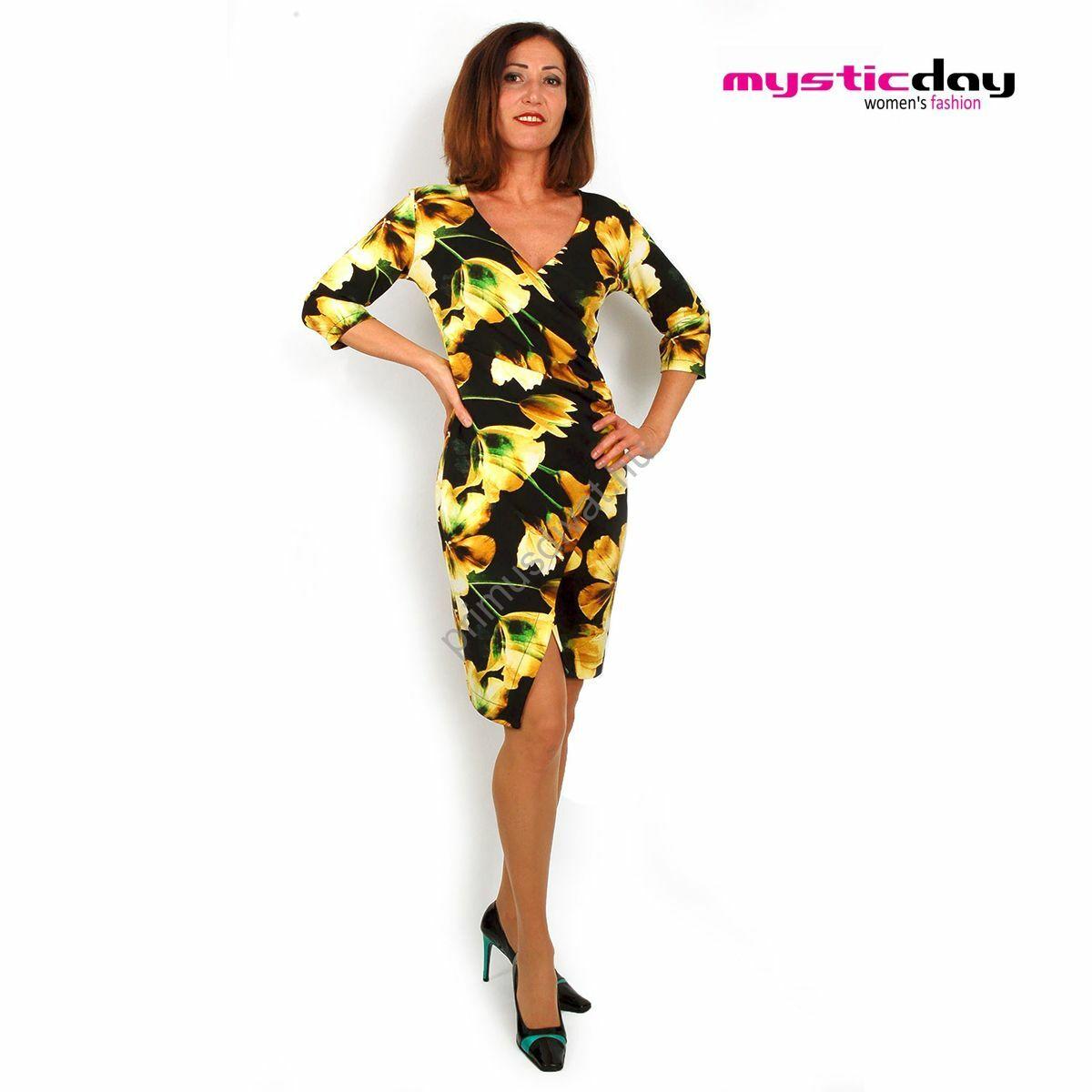a0bc593d64 Mystic Day ráncolt átlapolt elejű sárga virágmintás fekete ruha