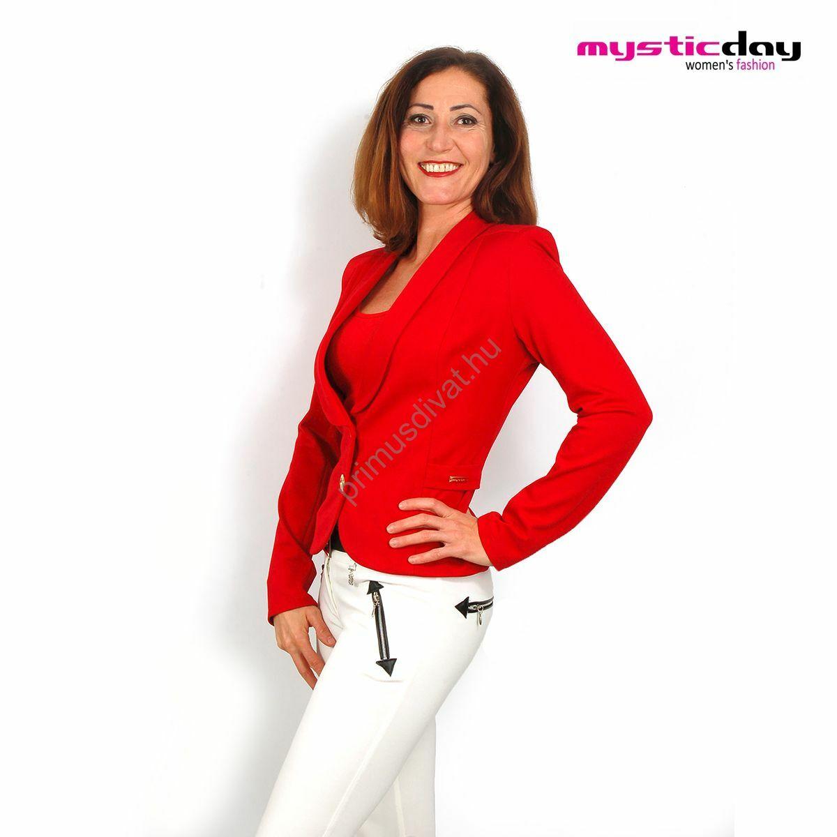 0b20962e0f Mystic Day sálgalléros, két arany gombos piros blézer, kabátka