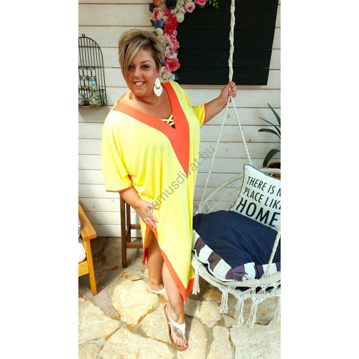 Fashion by Nono narancssárga betétes V-nyakú, keresztpántos dekoltázsú, két oldalt felsliccelt lenge citromsárga nyári Viki ruha