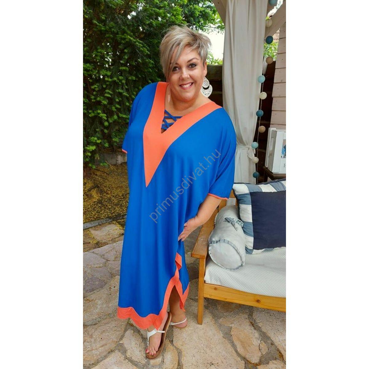 Fashion by Nono narancssárga betétes V-nyakú, keresztpántos dekoltázsú, két oldalt felsliccelt lenge királykék nyári Viki ruha