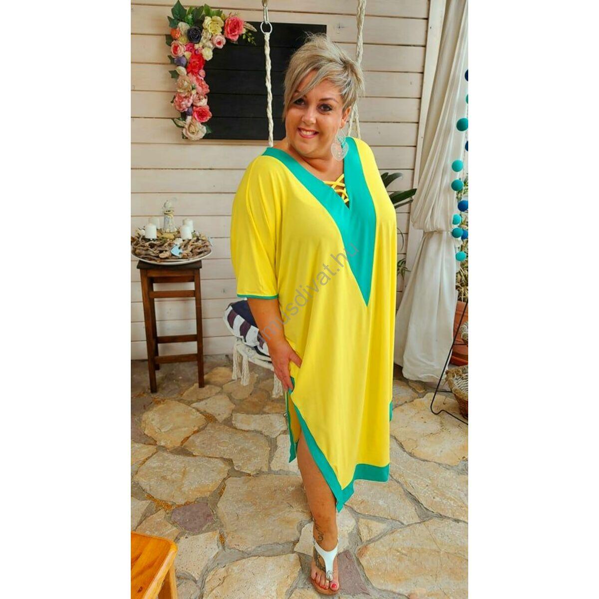 Fashion by Nono türkizzöld betétes V-nyakú, keresztpántos dekoltázsú, két oldalt felsliccelt lenge citromsárga nyári Viki ruha