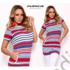 Masca Fashion csónaknyakú, piros-kék-fehér csíkos rövid ujjú zsebes hosszított felső, tunika