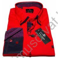 Balance dupla, legombolt galléros rugalmas, karcsúsított hosszú ujjú ing, piros-kék