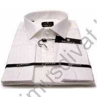 Balance mandzsettagombos, normál galléros egyszínű fehér, slim-fit pamutszatén hosszú ujjú ing