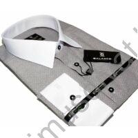 Balance fehér galléros, szövött apró mintás szürke hosszú ujjú, karcsúsított, hosszított fazonú ing