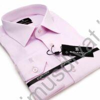 Balance rugalmas anyagú, szövött rombuszmintás halvány rózsaszín karcsúsított body-fit hosszú ujjú ing