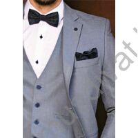 Balance három részes (zakó, mellény, nadrág) karcsúsított fazonú szürkés-világoskék öltöny