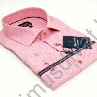 Balance szövött apró mintás slim-fit, karcsúsított fazonú hosszú ujjú rózsaszín ing