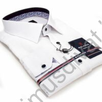 Balance strukturált felületű fehér hosszú ujjú slim-fit ing, színes mintás betétekkel