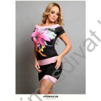 Masca Fashion vállra szabott csónaknyakú, rövid ujjú színes liliommintás fekete miniruha, rózsaszín betétekkel