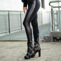 Mystic Day oldalán textilbőr betétes magas, gumis derekú rugalmas fekete punto leggings, cicanadrág