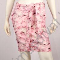 Mystic Day fodorszegélyes zsebes rózsaszín rózsamintás rugalmas vászon szoknya, anyagából készült megkötős övvel