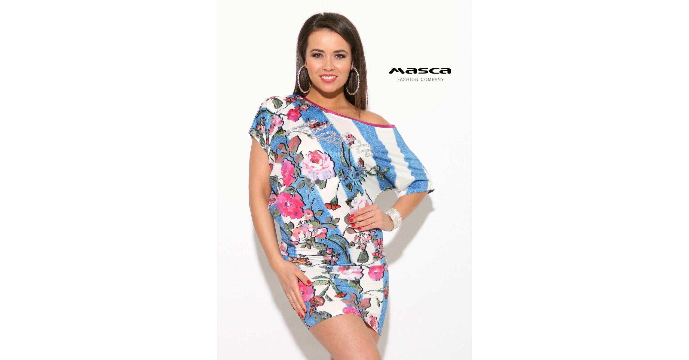 09a288a21370 Masca Fashion kék-fehér csíkos virágmintás lezser miniruha