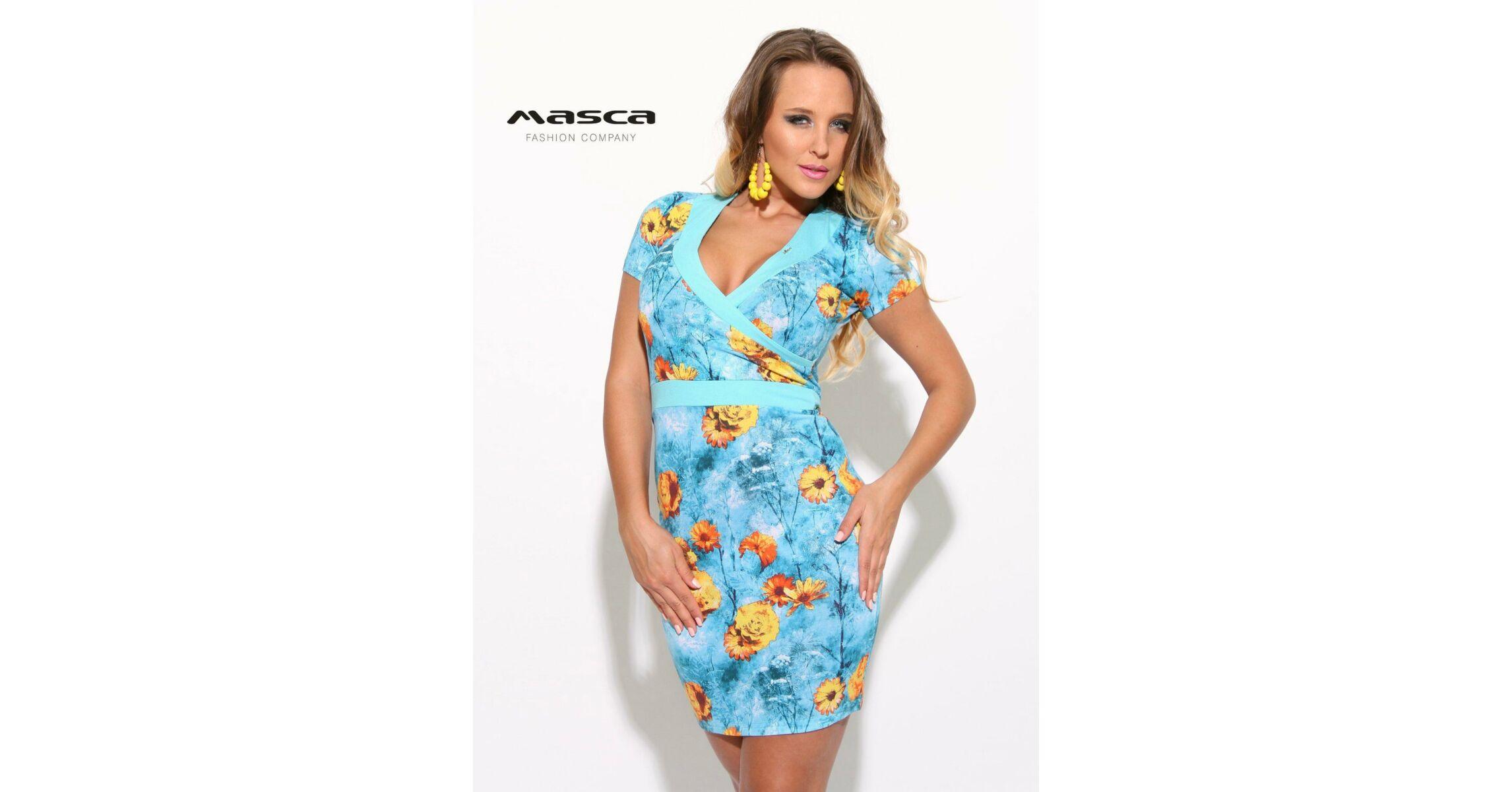 8b884b25de0a Masca Fashion átlapolt virágmintás világoskék rövid ujjú miniruha
