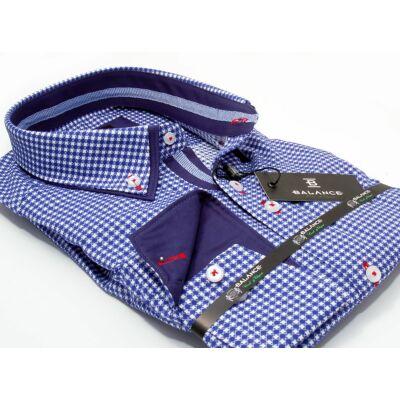 337d942ac8 Balance kék-fehér kockás hosszú ujjú, karcsúsított long fit ing, dupla,  legombolt