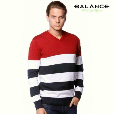 11d10cd432 Balance V-nyakú, bordó-fehér-kék csíkos vékony kötött pamut pulóver