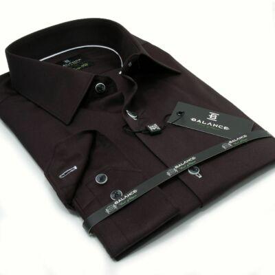 026fc504d0 Balance normál galléros egyszínű fekete, rugalmas anyagú body-fit,  pamutszatén hosszú ujjú ing