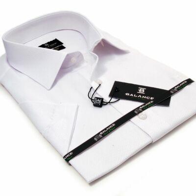fc51bd67d7 Balance anyagában szövött fényes mintás, egyszínű fehér rövid ujjú slim-fit  alkalmi ing
