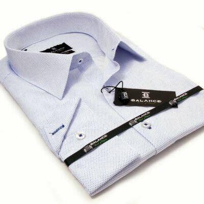 5ed6f0df8b Balance normál galléros apró kék mintás fehér hosszú ujjú karcsúsított  alkalmi ing