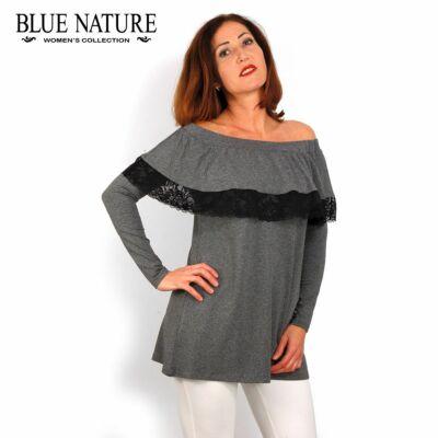 2dd1164ee7 Blue Nature vállra húzható fodros fekete felső, tunika csipke szegéllyel