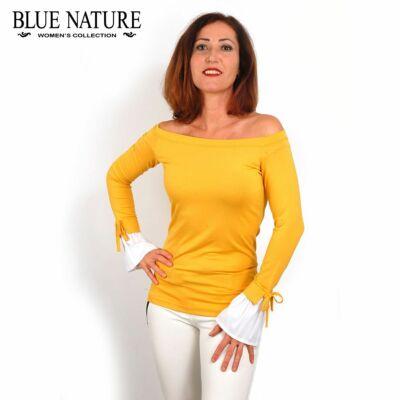 abfcbfd3ce Blue Nature vállra húzható csónaknyakú, okkersárga rugalmas hurkolt felső,  fodros fehér ingujjal