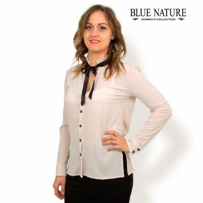 45bdb5fd0d Blue Nature fodros állónyakú, fekete szatén masnis, vékony hosszú ujjú bézs  rugalmas blúz