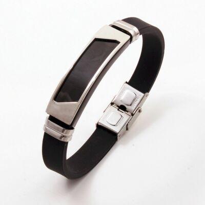 956dcf4d4d Acél-szilikongumi férfi karkötő fekete betétes ezüst színű dísszel
