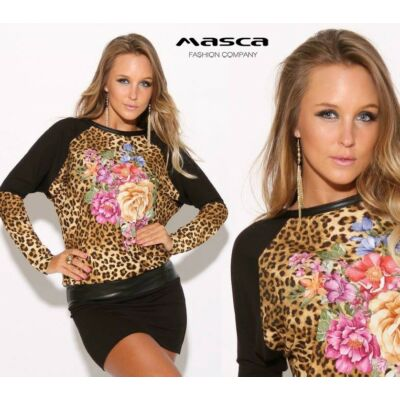 Masca Fashion virágos párducmintás betétes denevérujjú fekete miniruha a7274a91bd