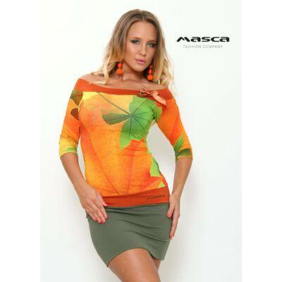 2e6ad630a7 Masca Fashion vállra húzható, háromnegyedes ujjú őszi levélmintás miniruha,  keki szoknyarésszel - Mf824-
