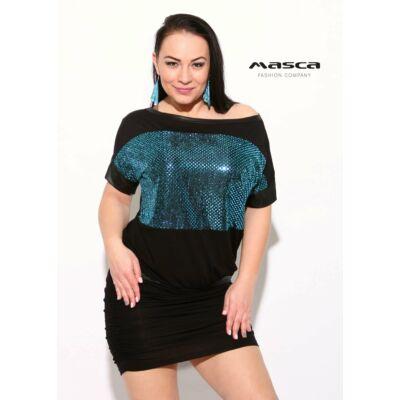 13341775ee Masca Fashion flitteres türkiz betétes fekete rövid ujjú lezser alkalmi  miniruha, húzott szoknyarésszel - Mf840
