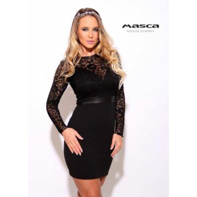 cf925217ae Masca Fashion részben alábélelt csipke felsőrészű fekete alkalmi miniruha,  mell alatt műbőr betéttel - Mf801