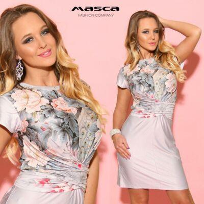 2ad237c01a Masca Fashion mell alatt átlapolt, hátán megkötős virágmintás szürke rövid  ujjú miniruha - Mf814-