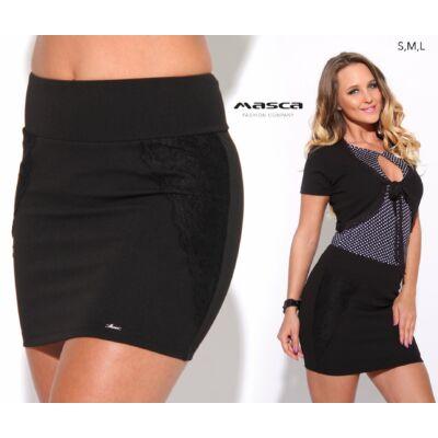 c1d5076162 Masca Fashion magasított derekú, oldalán csipkerátétes rugalmas fekete  miniszoknya