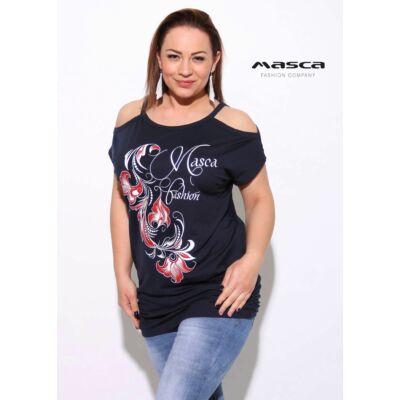 3c5dc51d78 Masca Fashion nyitott vállú, rövid ujjú sötétkék felső, tunika, csípőjén  gumis ráncolással